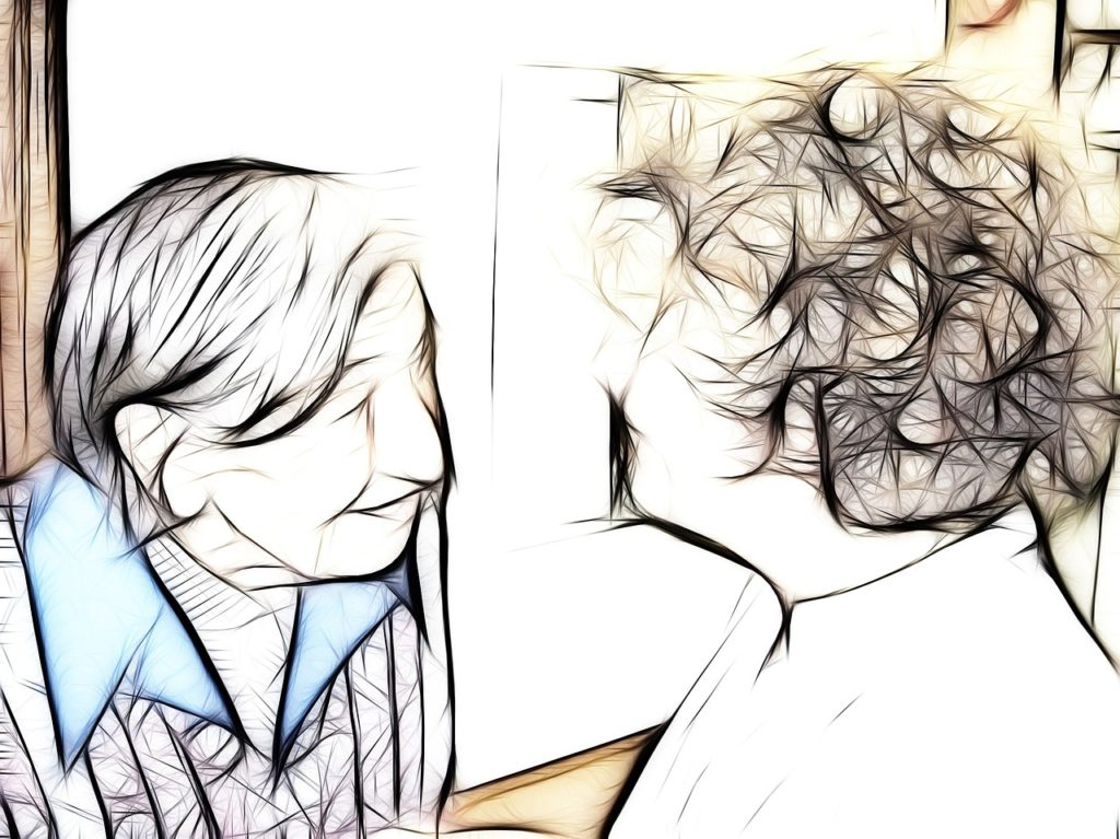 Drawing of an older woman with a caregiver.