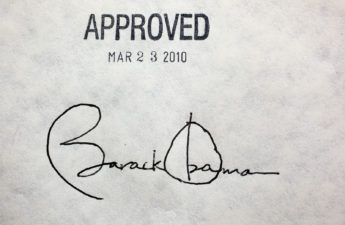 Obama's signature on the Affordable Care Act