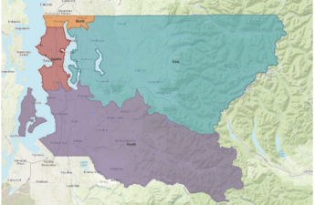 Map shows the four regions of King County Washington: Seattle, North, East, and South.
