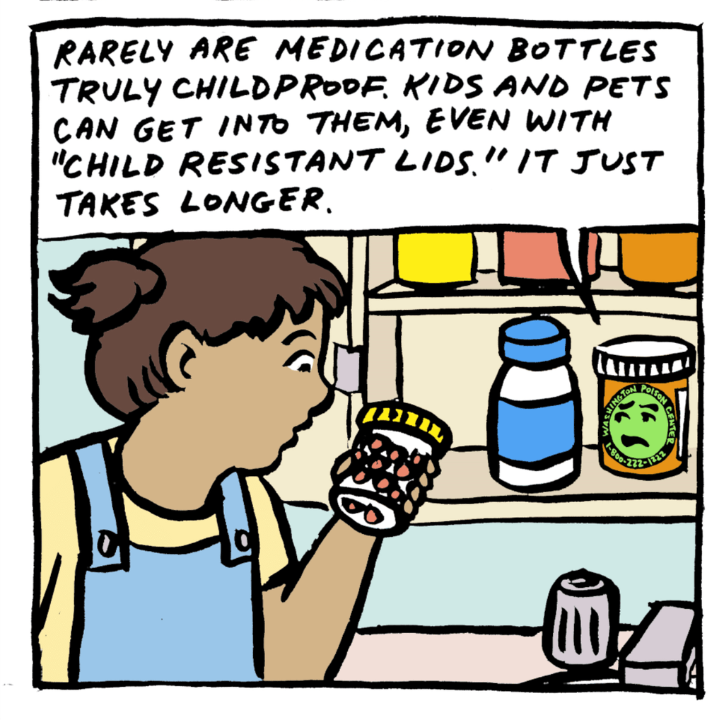 Cartoon of child looking into a medicine chest