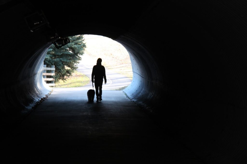 man walking a dog in a tunnel