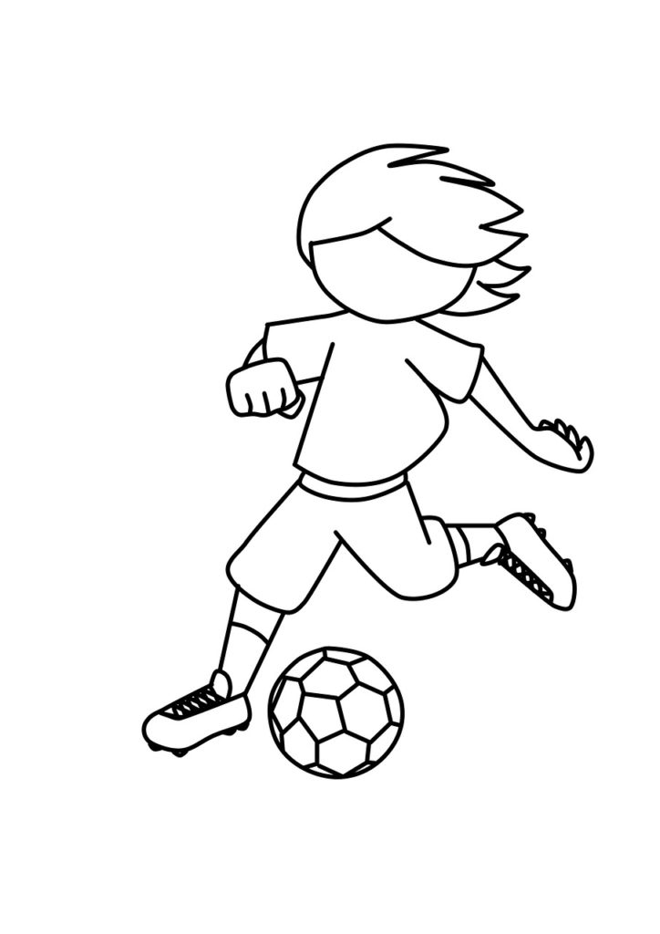 Drawing of a boy playing soccer