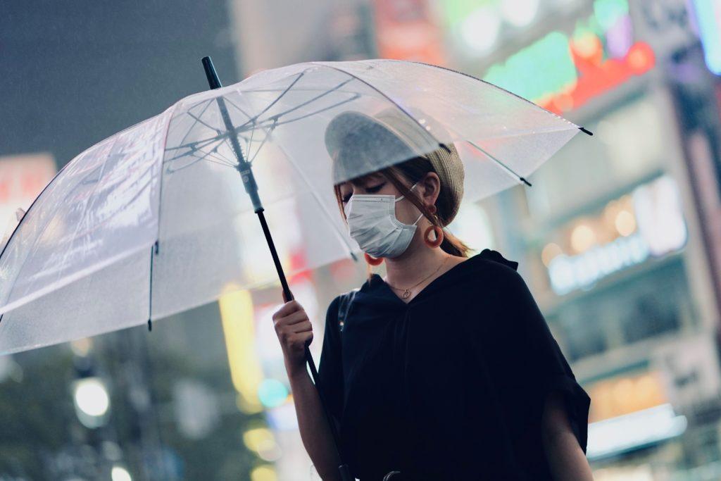 Woman holding a transparent umbrella. Shibuya Crossing, Tokyo, Japan.
