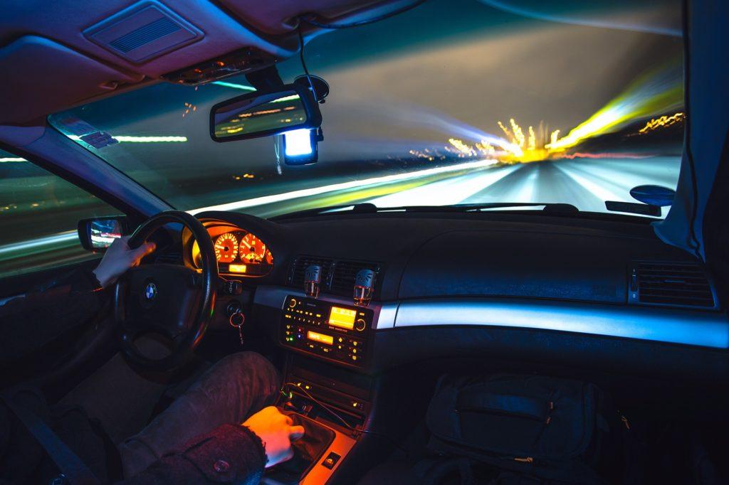 Interior car speeding at night