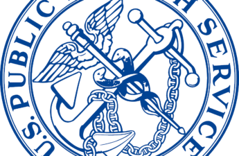 Seal of the U.S. Public Health Service, which shows the Staff of Aesculapius, the Greek god of medicine, with a ship's anchor and chain.