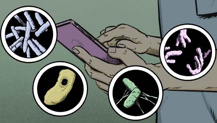 Illustration of a smartphone surrounded by images of bacteria and viruses
